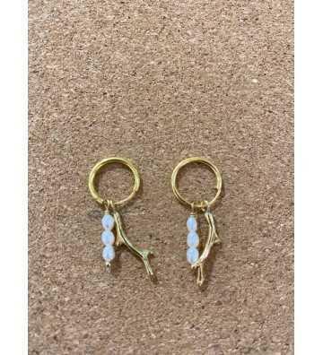 Boucles d'oreilles Corail et perles