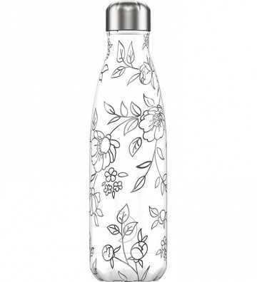 Bouteille Line Art Fleurs - 500ml Chilly'S Bottle - 1