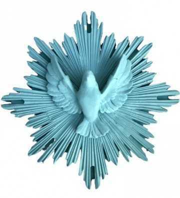 Ex-Voto Colombe Bleu Glacé J'ai vu la vierge - 1